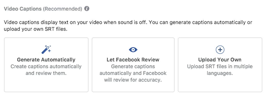 facebook video ads how to add captions