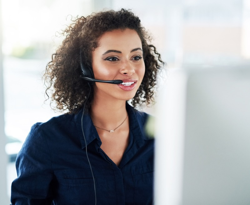 Female Employee Working at a CRM Agency