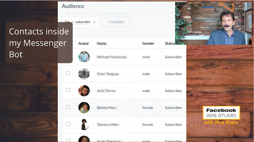 subscriber list in Facebook messenger bots