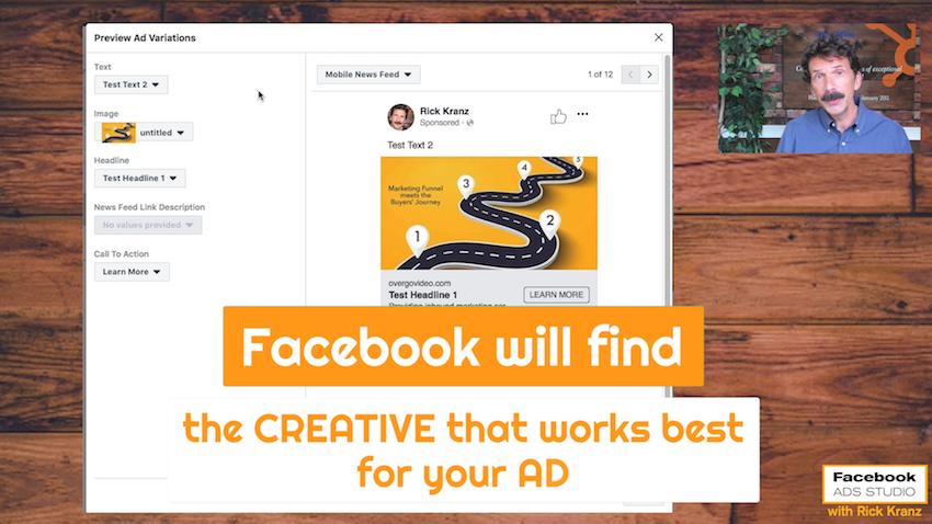 facebook willl find creative that works best