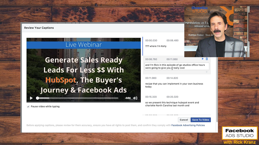 generate captions facebook video ads you review