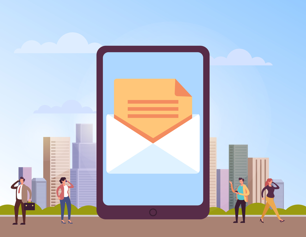 email icon on a giant tablet surrounded by people using their smartphones