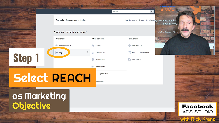 select reach as facebook marketing objective