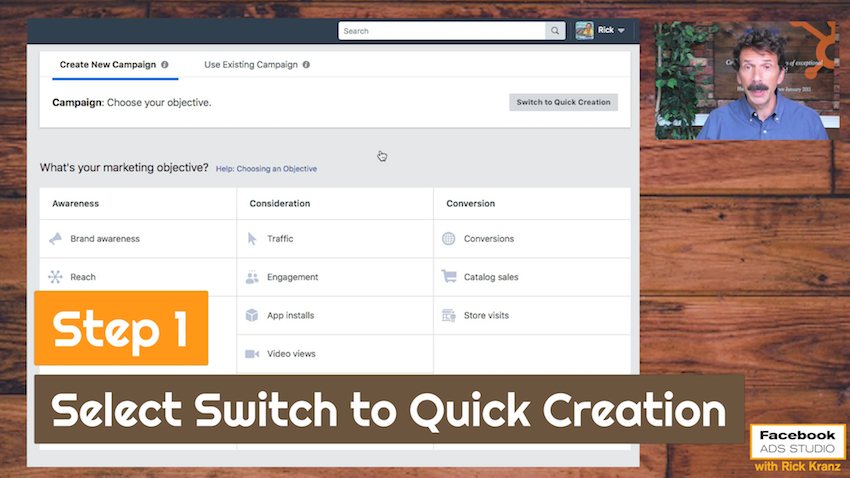 switch to quick creation facebook dynamic creative